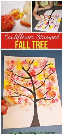 Cauliflower stamped Fall Tree . arts and craft project for the kids for the fall autumn
