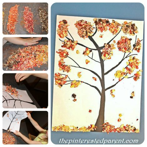 Fall Tree made out of colored oats. A great sensory & arts and craft project for the kids for the fall.
