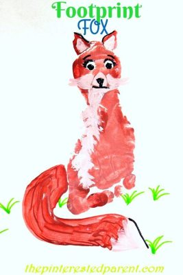 Footprint Fox Craft - Footprint crafts A-Z F is for fox