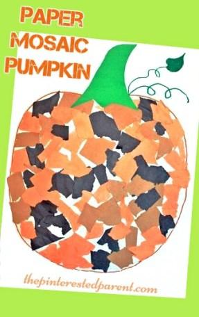 Paper Mosaic Pumpkin Craft - fun fall autumn crafts for kids - Halloween activities & arts and crafts