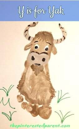 Y is for Yak footprint crafts