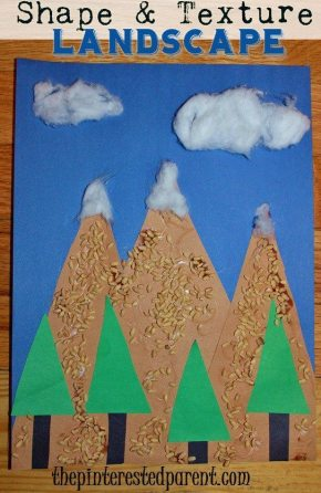 Shape & Texture Landscape - Combine shapes & different textures to make this pretty mountain craft