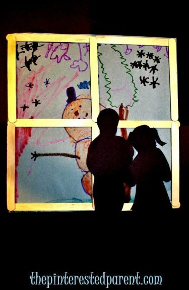 Popsicle Stick Window with winter scene & silhouette - winter crafts for kids.