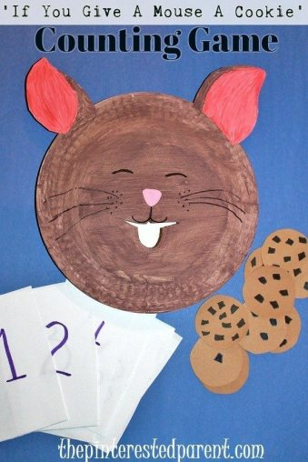 'If You Give A Mouse A Cookie' Counting game, activity & craft Paper Plate craft