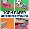 Torn Paper Christmas Stockings With Glitter - Kids crafts for the holidays.