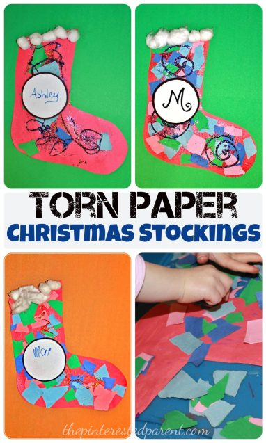Torn Paper Christmas Stocking Mosaics With Glitter - Kids crafts for the holidays.