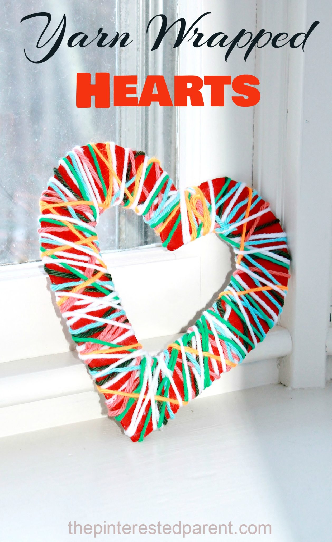 Yarn wrapped hearts the pinterested parent for Valentines day art and crafts for preschoolers