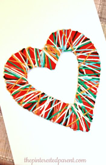 Yarn Wrapped Fine Motor Craft & Activity for Kids for Valentine's Day