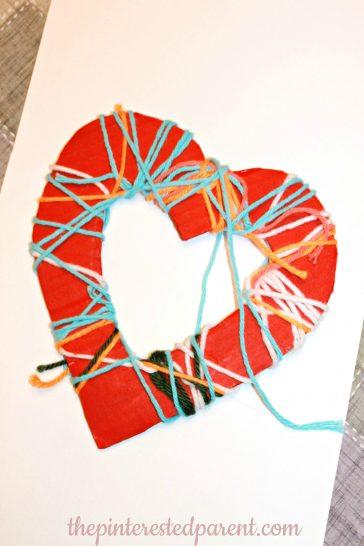 Yarn Wrapped Hearts - Fine motor Activity & Craft