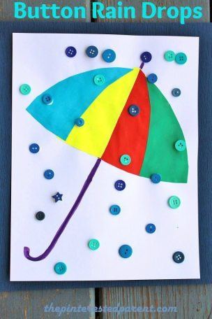 Button Rain Drop & Umbrella Craft for kids