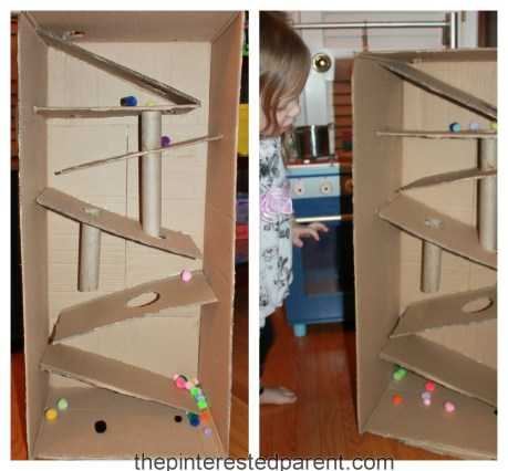 Cardboard box marble & pom pom ramp. This was so much fun & a great activity for kids - arts & craft