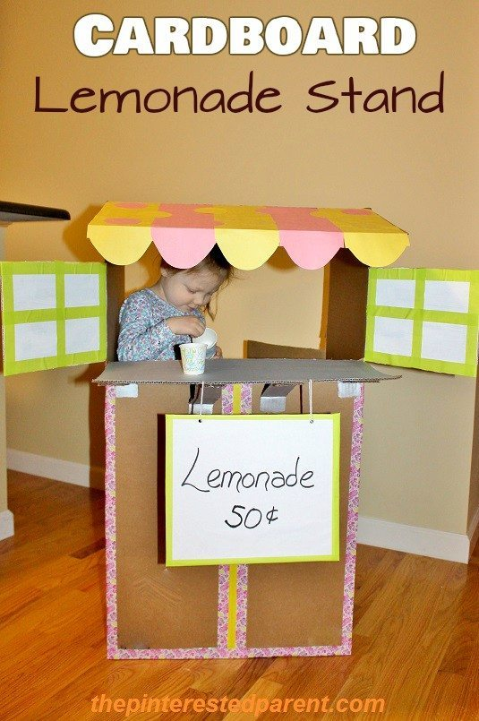cardboard lemonade stand the pinterested parent