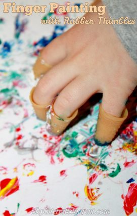 Finger painting for kids with rubber thimbles - art for children