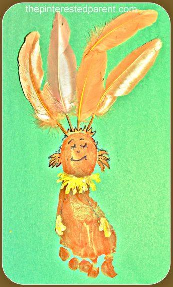 Kids Footprint craft inspired by Fiffer Feffer Feff from Dr. Seuss ABC book