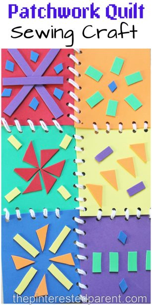 This is a great fine motor skill activity as well as a bright and pretty craft for the kids. Patchwork quilt sewing with foam pieces