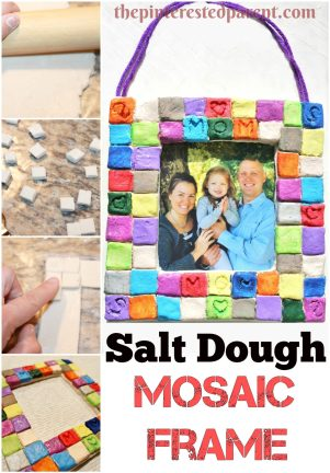 Diy salt play dough mosaic frames - a great gift idea for the kids to make- clay crafts