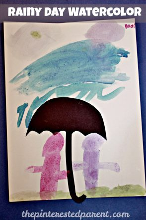 Watercolor & Salt Paintings - spring rainy day art for kids