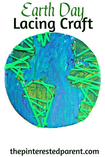 Earth Day Lacing Craft using recycled cardboard. A great fine motor activity & craft for the kids