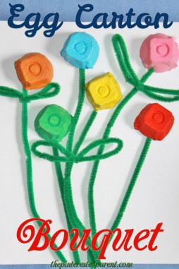 The super simple egg carton flower bouquet is a quick & easy craft that you can make with all your leftover egg cartons