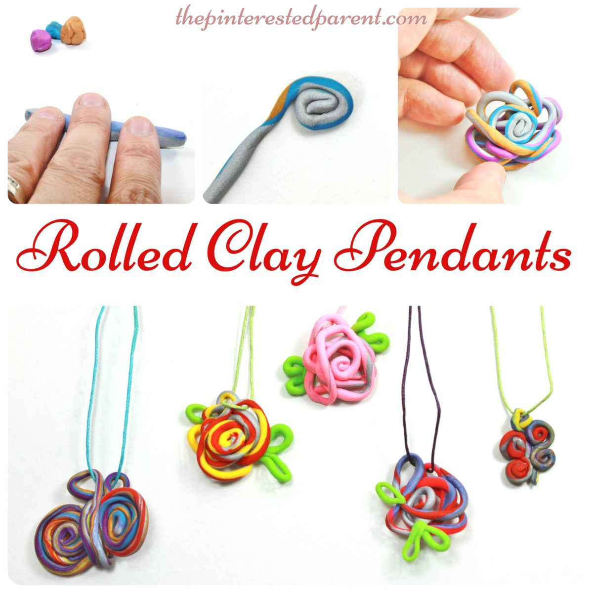 Roll & Wrapped Clay Pendants
