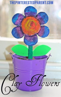 Salt Dough Clay Flowers. These adorable spring or summer arts & crafts project for kids makes a wonderful gift for Mothers Day or any special occasion.