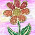 Glittery cardboard flower over watercolor paints - a pretty spring or summer arts & crafts project for kids..