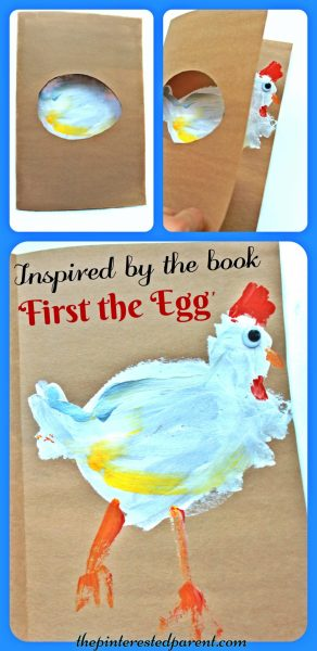 Kid's arts & craft project inspired by the book First The Egg. Open to reveal the chicken painting .