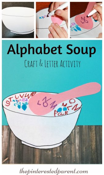 Alphabet Soup Craft & Letter Writing Activity For Kids - a fun way to practice writing their ABC's.,
