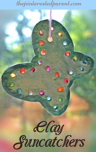 Clay Suncatchers - summer arts and crafts projects for kids made with clay & tissue paper