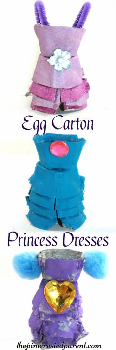 Egg carton princess dress craft - arts and crafts for kids with recyclables
