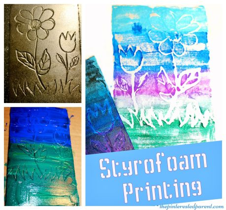 Styrofoam paint printing stamping activity for kids . Arts & crafts projects for children.