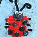 Yarn wrapped puzzle piece lady bug arts and crafts project for kids,