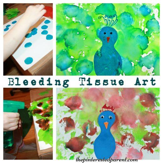 Bleeding Tissue Paper Art - Peacock arts & crafts for kids.