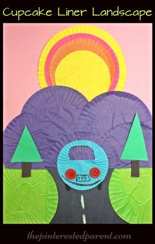 Cupcake liner sunset landscape craft - kid's arts & craft ideas