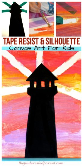 Tape resist & silhouette sunset lighthouse canvas painting - arts & crafts projects for kids