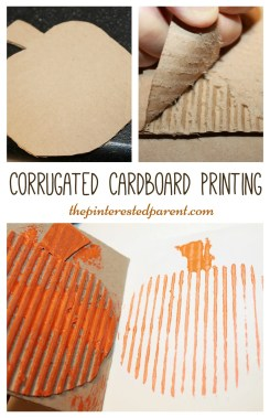 corrugated cardboard printing with a pumpkin for fall autumn or halloween arts crafts kids activities and painting