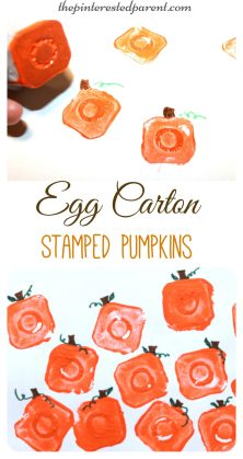egg carton pumpkin printing stamps - fall autumn halloween arts and crafts paint projects for kids - recyclables