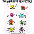 These are so cute & fun to make. Thumbprint or fingerprint monsters. Kid's arts & crafts. Perfect for Halloween.
