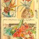 Pen and Wash Sketch of Flower Arrangements