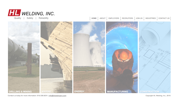 Screenshot of HL Welding, Inc. Website