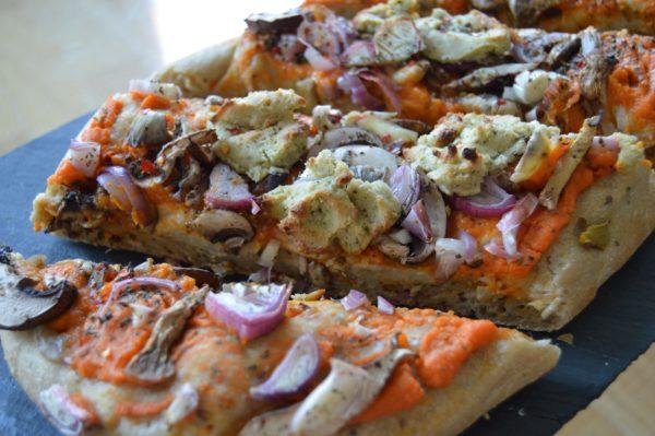 vegan cheese sweet potato pizza