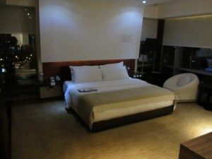The king bedroom of my corner suite at Le Meridien Bangkok. Love the low lighting.