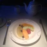 A light breakfast of fresh fruit and tea.