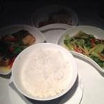 Stir-fried freshwater garoupa with steamed jasmine rice and bok choy--healthy!