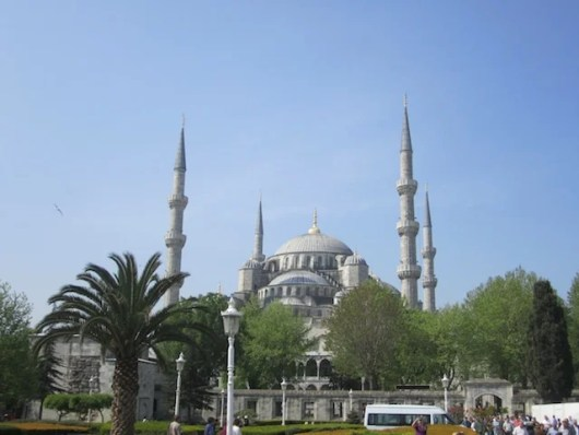 The imposing exterior of the Blue Mosque, one of Istanbul's most-visited landmarks.