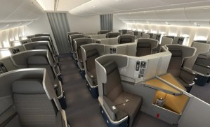 American will install these new business class seats on both international and some domestic flights.