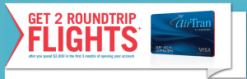 Chase AirTran Visa With 2 Roundtrip Sign Up Bonus