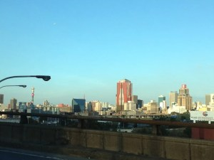 Driving past Joburg's CBD on the way to Soweto.