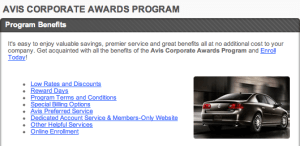 Avis Corporate Awards