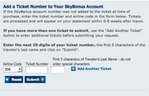 Skybonus add ticket